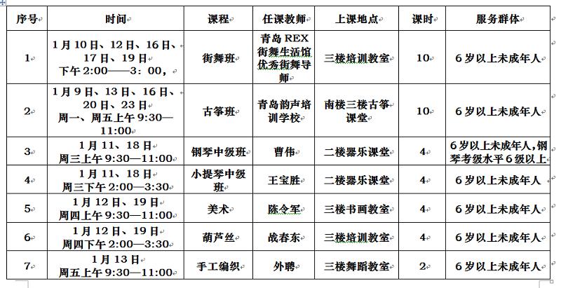 """2017李沧区文化馆""""快乐假期跟我学""""未成年人寒假课程表"""